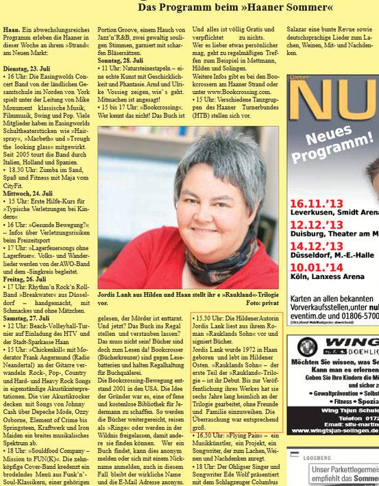 Wochenpost Hilden/Haan, 23.07.2013 - Herzlichen Dank für die Genehmigung zur Verwendung!