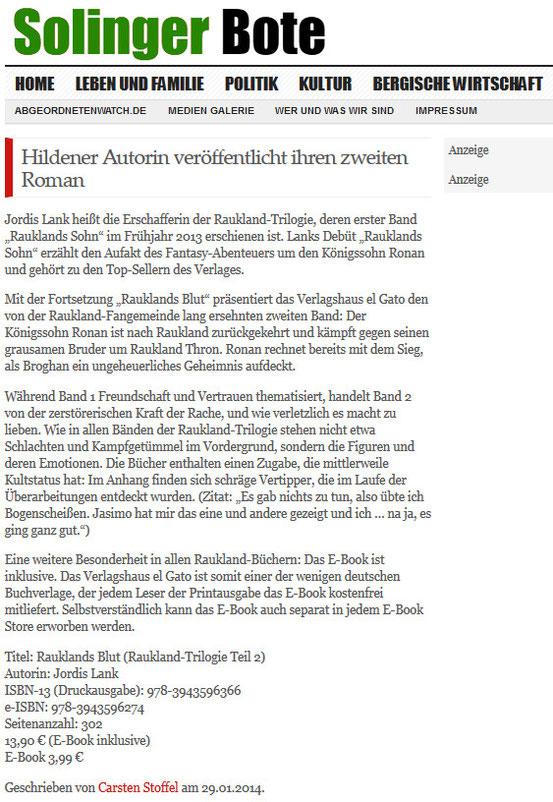 Solinger Bote, 29.1.2014  - Herzlichen Dank für die Genehmigung zur Vewendung!