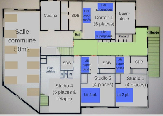 Plan 1er niveau gite communal Sappey en Chartreuse