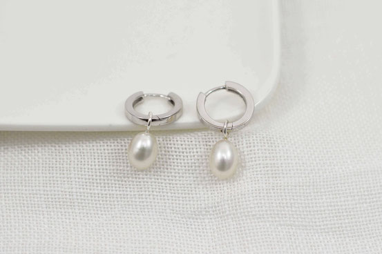 créoles en argent et perle / earrings sterling silver and pearl