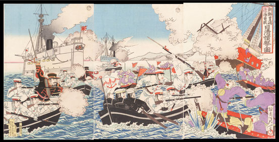 S008 In the Battle of Pungdo the Imperial Japanese Navy of Meiji Japan fight the Beiyang Fleet of the Empire of China