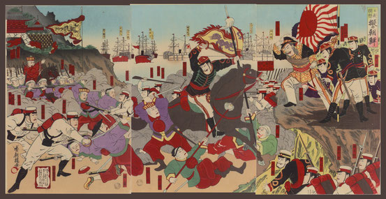 S047 The color woodblock print depicted one scene of Kabuki which handled the Sino-Japanese War