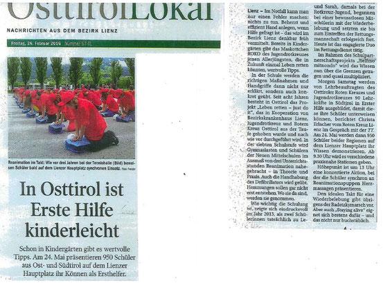 Bericht Tiroler Tageszeitung 26.02.2016: In Osttirol ist Erste Hilfe kinderleicht