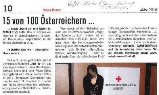 Bericht Kofl Kurier Tristach März 2016