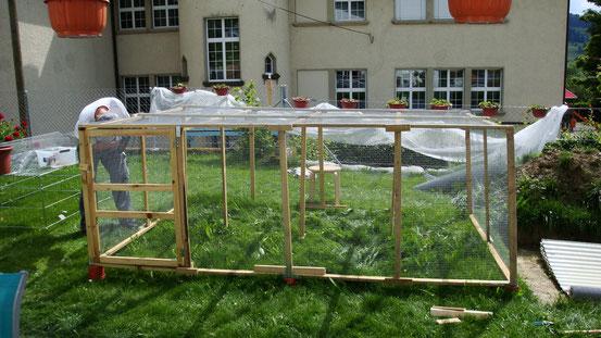 Das Holzgerüst mit Gitter wird augebaut (Danke Schatz =))