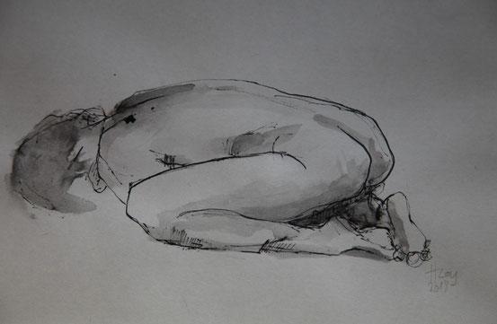 o.T., Tusche auf Papier, 22cm x 16cm, 2018
