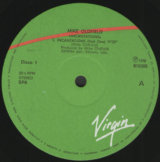 "Disco 1 615305A Mike Oldfield ""Virgin"" 13.10.83"