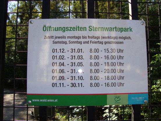 Die Öffnungszeiten im Sternwartepark. Das Sternwarteareal gehört heute als Naturdenkmal 713 zu den anerkannten Wiener Naturdenkmälern.