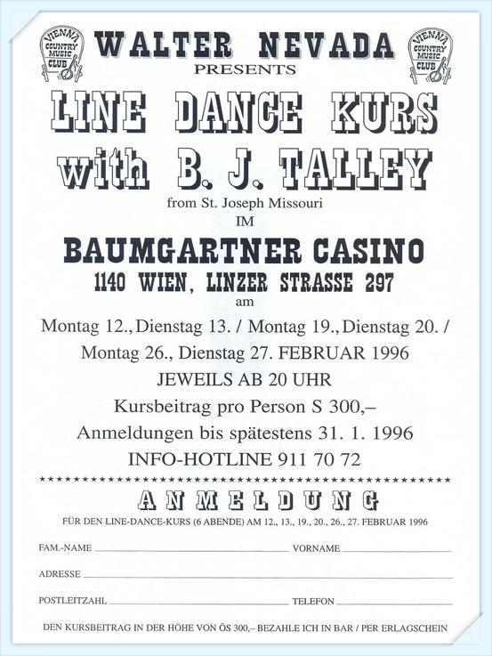 Das war der erste Linedance-Kurs, der in Wien ausgeschrieben wurde. Ich habe mit Gerti K. daran teilgenommen.