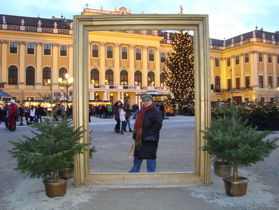 Johanna am Weihnachtsmarkt vor Schloss Schönbrunn
