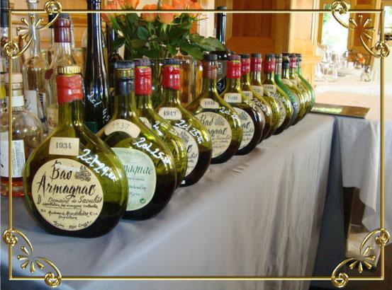Vintage-Cognac Armagnac aus diversen Jahren des vorigen Jahrhunderts. Der älteste stammt aus 1934.