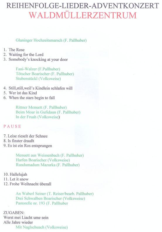 Programm zum Adventkonzert 2015 des Arbeitersängerbundes Favoriten im Waldmüllerzentrum, 1100 Wien. Schwarze Schrift: Chor. Grüne Schrift: Wienerberger Saitenmusi.