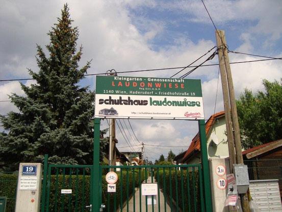 Zugang zum 'Schutzhaus Laudonwiese', 1140 Wien, Friedhofstrasse 19