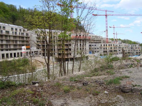 Gegenüber bei der Waldmühle auf dem Gelände des ehemaligen Zementwerkes ist eine gewaltige Wohnhausanlage in Bau (Bildklick)