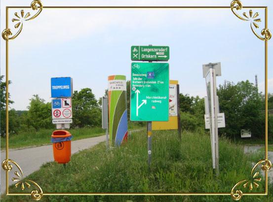 Wegweiser bei Langenzersdorf. Rechts gehts unter der Autobahn durch zur Fischerhütte.