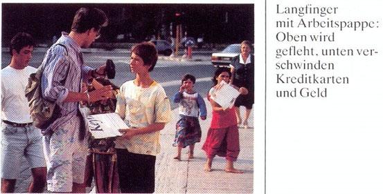 Bild-Scan aus Merian 1991: Rom. Dieses Szenario kann sich auch bei uns abspielen. Das Bettelverbot bleibt ein aktuelles Thema.
