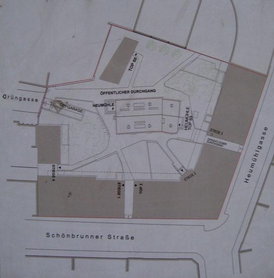 Lageplan am Eingang von der Grüngasse