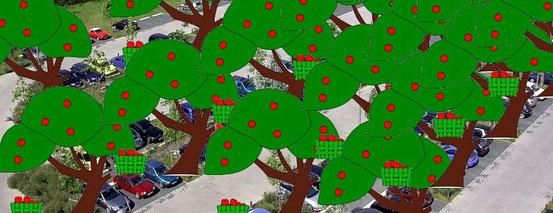 Idee von Bezirksrätin Gabriele Tupy: Billa-Parkplätze mit Obstbäumen