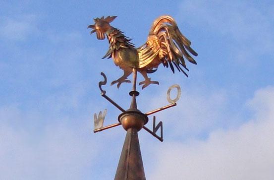 Wetterhahn im Böhmischen Prater in einer Februar-Abendsonne
