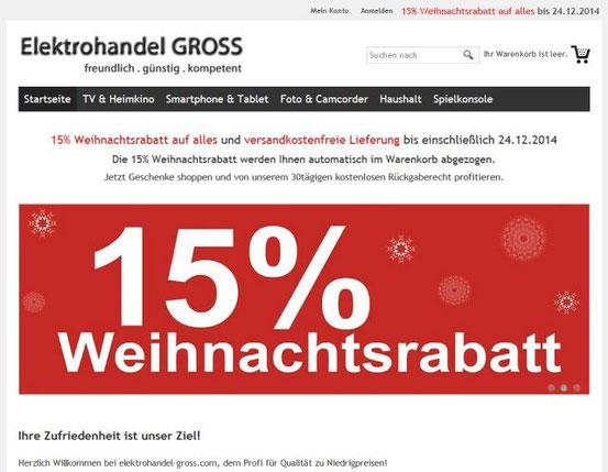 Der Fake-Shop 'elektrohandel-gross.com' (Screenshot vom 12. Dezember 2014).
