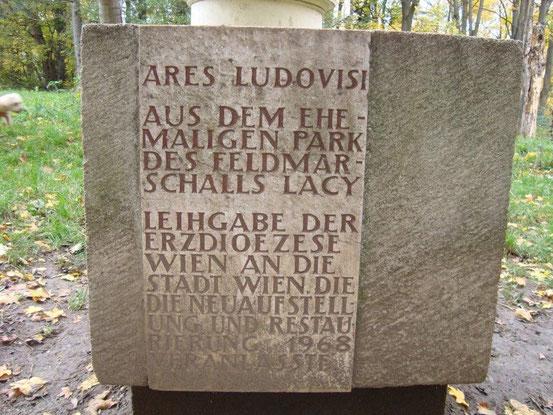 Steininschrift zur Skulptur des Ares Ludovisi im Schwarzenbergpark, Wien-Hernals