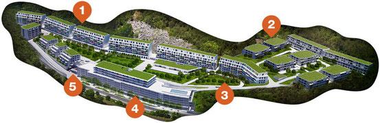 Modell der Wohnhausanlage 'Waldmühle Rodaun' (Bildklick)