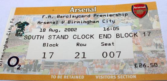 Eintrittskarte vom Spiel Arsenal gegen Birmingham aus dem Jahr 2002