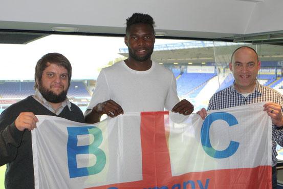 Russell Poyner, Emmanuel Mbende und Tom Kleine im Stadion von Birmingham City