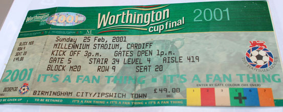 Entrittskarte vom Worthington Cup Final 2001