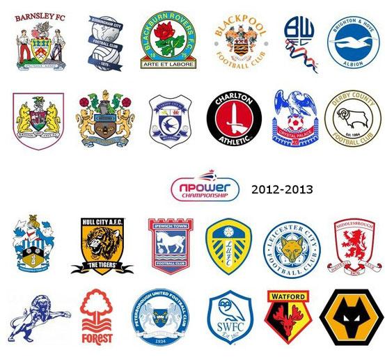 Die 24 Vereinslogos der Championship 2012/2013