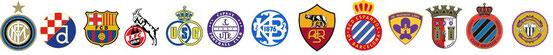 Die Wappen von 13 Fußballvereinen