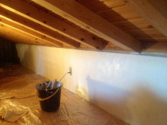 プチリフォーム屋根裏漆喰塗り