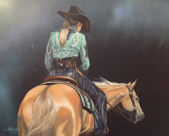 Western dream under the stars 24x30 Huile et acrylique