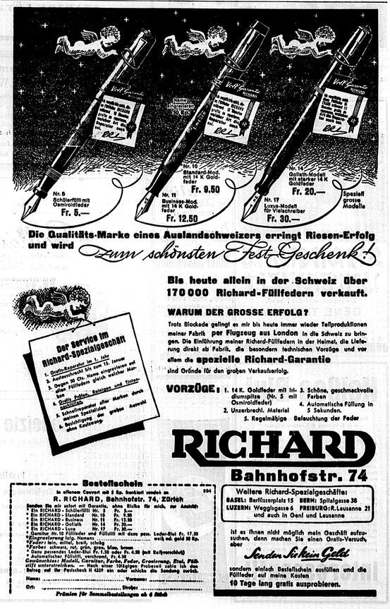 Inserat in der NZZ von 1943