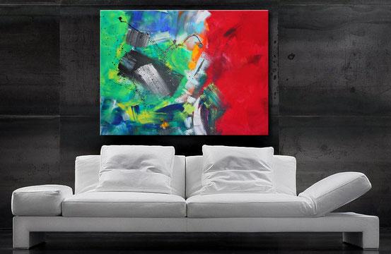 abstraktes Acrylbilld in blau, Purple, Grau, Schwarz und Weiß