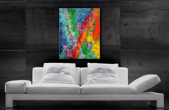 acrylgemälde 100x 100 x 4 cm, starke kontraste in Rot, Grün, Blau, Orange und andere Akzente, Blickfang für moderne Räume