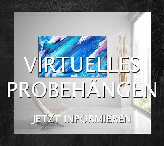 Vituelles Probehängen von abstrakten Gemälden auf Wandbilderkunst.de