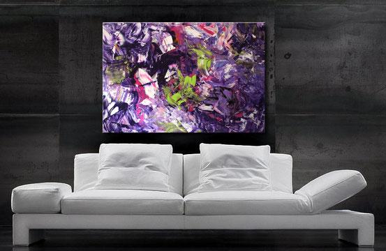 Acrylbilder kaufen - interessante Strukruren, Verläufe in Purple, Violettrot, Schwarz, Weiß, und anderen Akzenten
