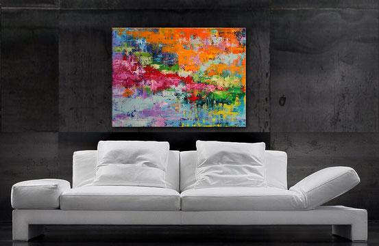 Acrylbilder abstrakt kaufen - Blau, Gelb, Orange, Türkis, Rot, Grün  100 x 80 cm, Wandbild abstrakt, modern