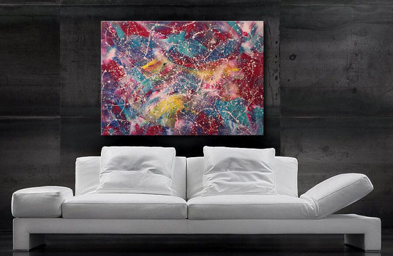 Acrylbilder abstrakt kaufen - Grün, Gelb, Blau, Rot, Weiß, Schwarz 120 x 90 cm, Wandbild abstrakt, modern