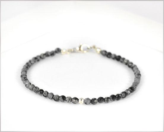 Schneeflocken-Obsidian Edelsteinarmband 3 mm  925 Silber  33,90 €