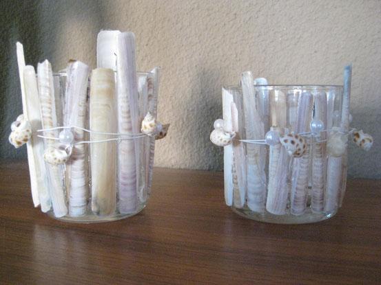 Teelichthalter aus Schwertmuscheln