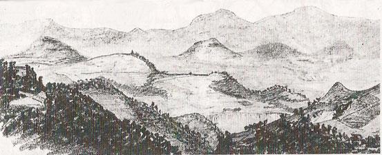 dessin de R.L.Stevenson publié dans son journal de route . . Vue du Monastier