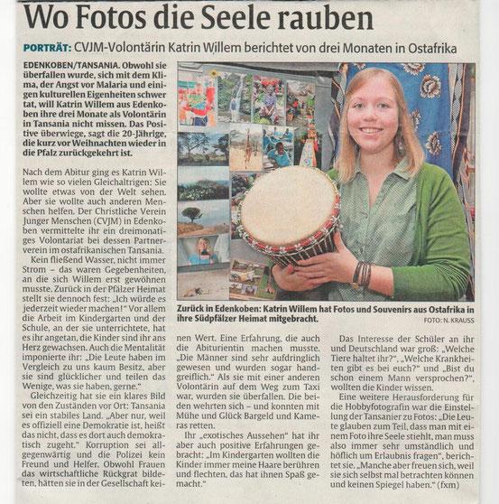 Weiteres Interview 22. Januar 2014 / Rheinpfalz Marktplatz Regional