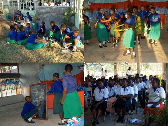 Festessen für die Gäste (auch die Kinder), Vorführungen der Kinder (auch in Afrika gerne gesehen) und gespannte Gäste im YMCA-Outfit