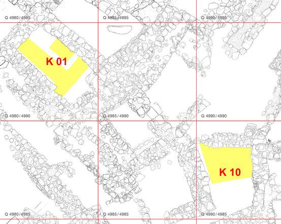 Ägina Kolonna - Planausschnitt Äußere Vorstadt (gelbe Markierung zeigt Grabungsareale 2017 in K01 und K10)