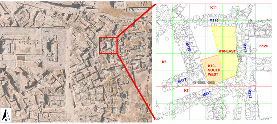 Eastern part of Kolonna and the plan with excavation areas 2016 in K10.