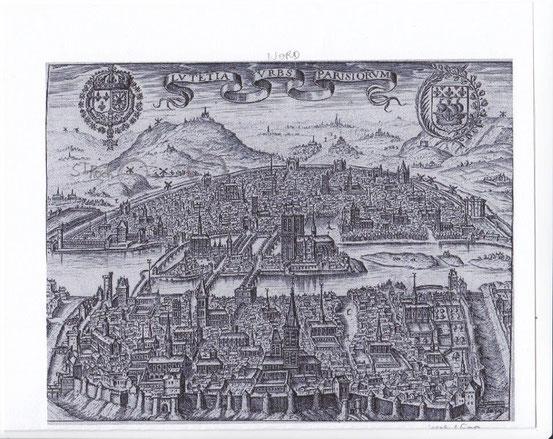 La butte St Roch en haut à gauche et un peu plus à droite la Pte St Honoré (entourée)