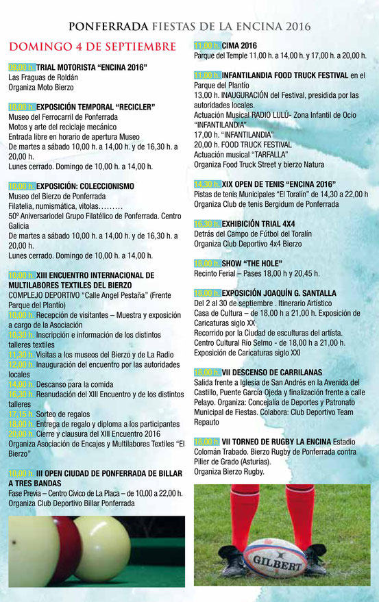 Fiestas de la Encina en Ponferrada Programa