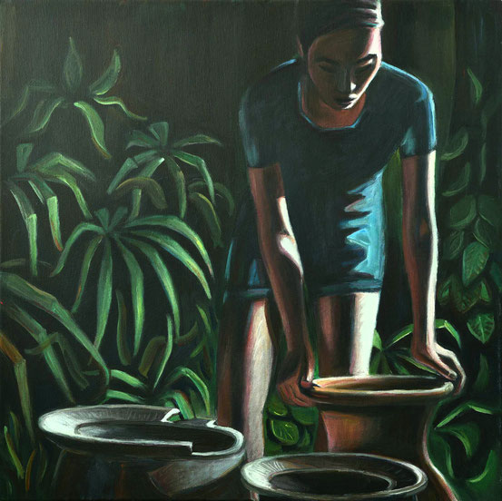 philipp christoph haas | [kruege] aus der serie 'un jardin pendant la mousson' | akryl auf leinwand, 2020
